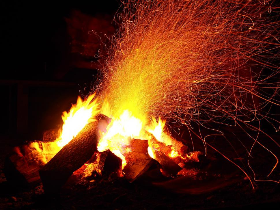 Download Free Stock Photo of Camp Fire - Long Exposure