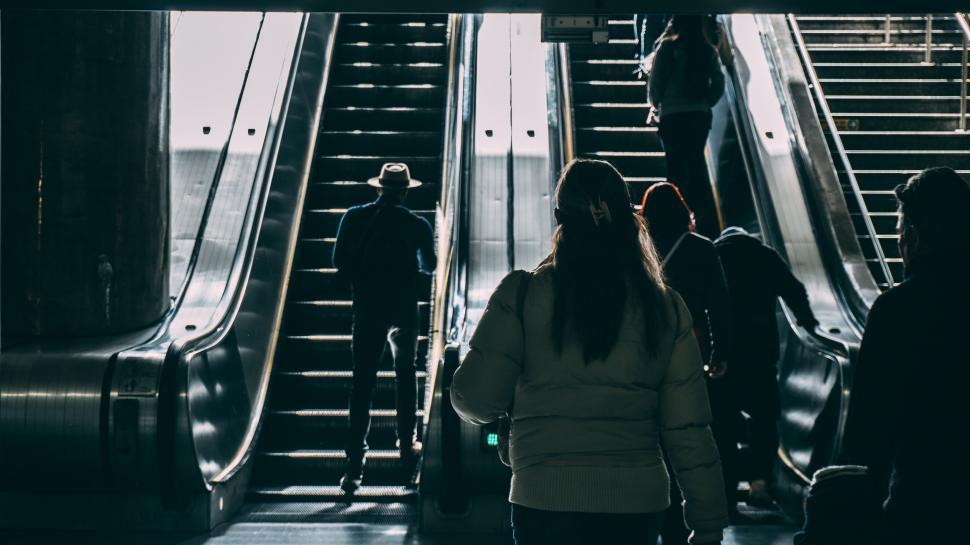 Download Free Stock HD Photo of People on Escalator Online