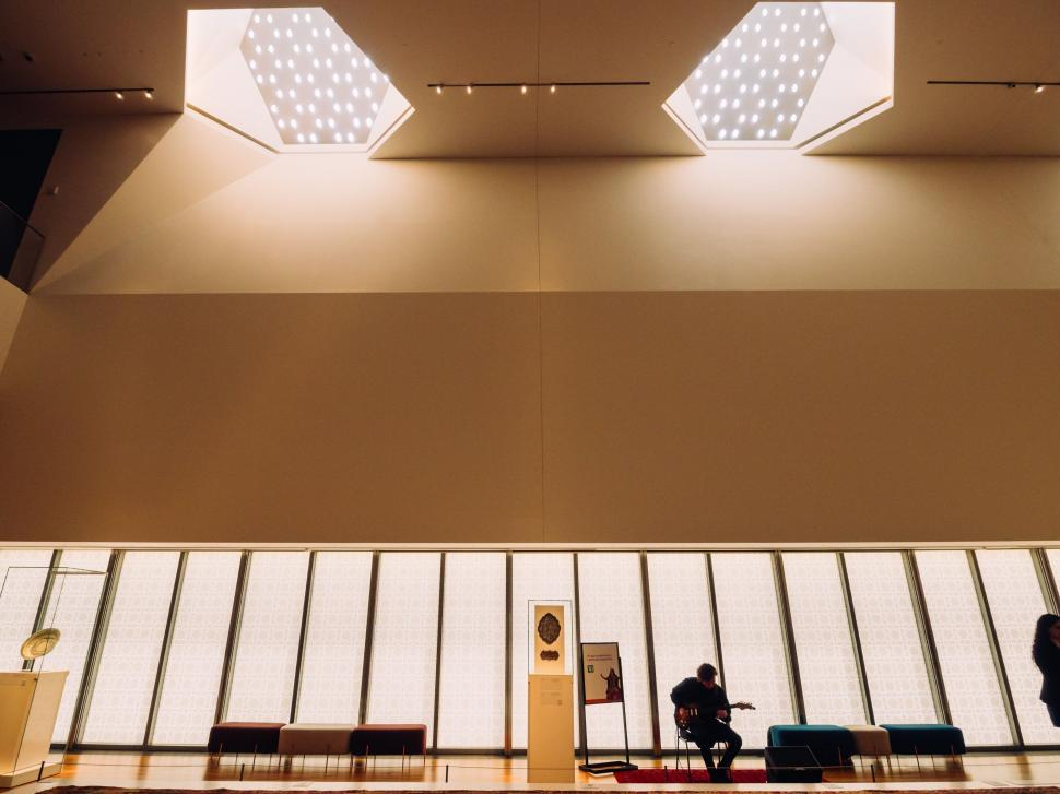 Download Free Stock Photo of Interior of building with ceiling lights