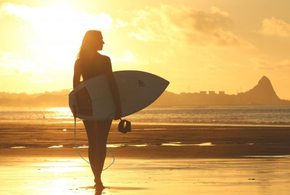 Download Free Stock Photo of Surfer Girl in yellow sunlight