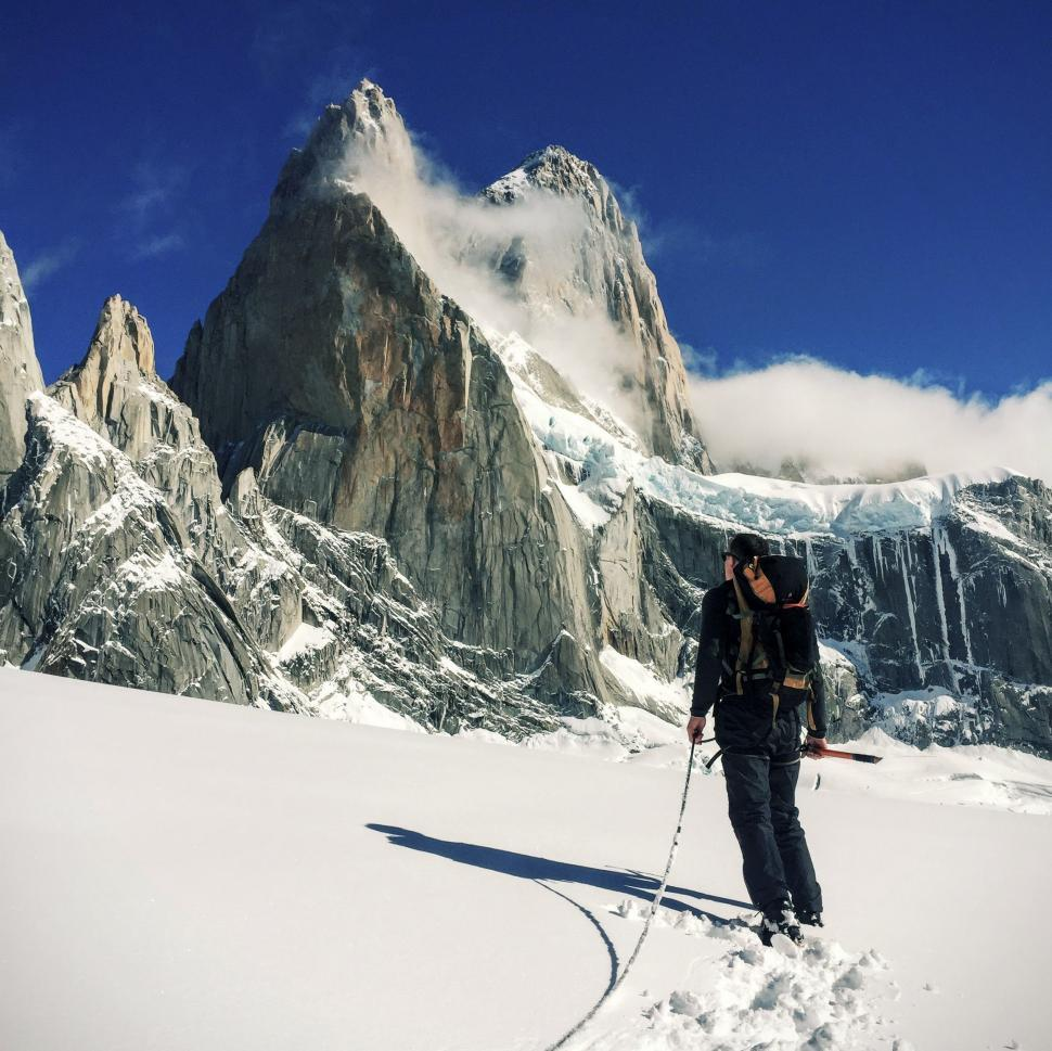 Download Free Stock Photo of Mountain Climber in Snow