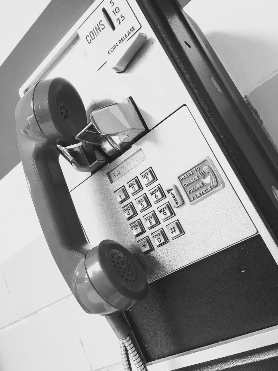 Download Free Stock Photo of Public Telephone - Monochrome