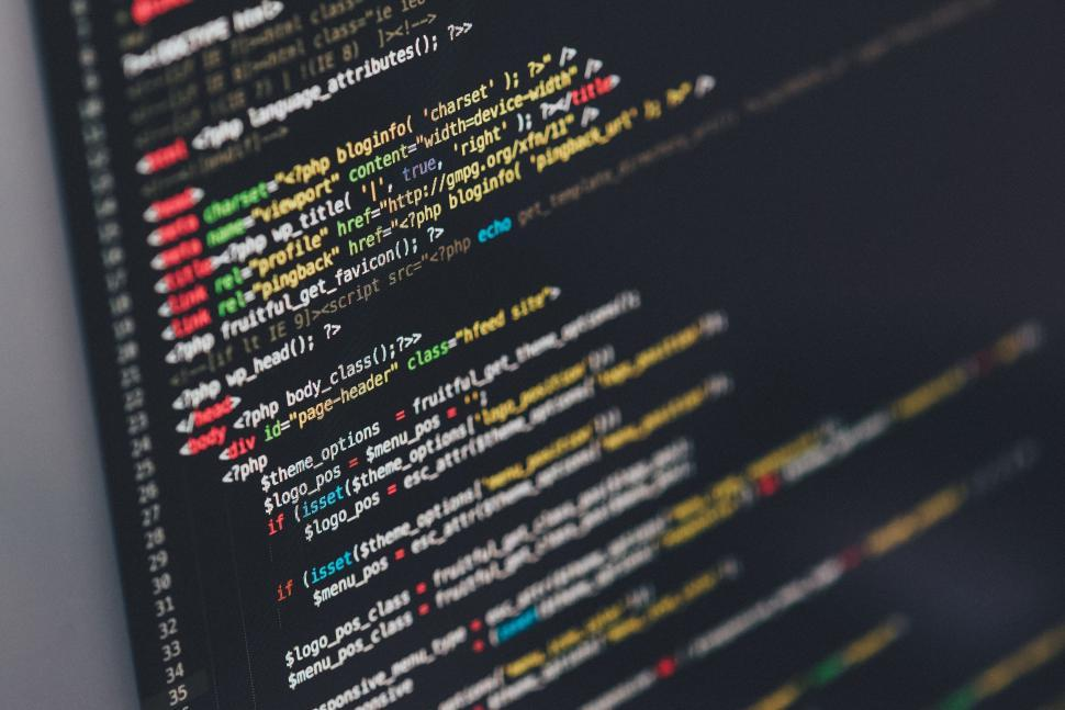 Download Free Stock Photo of Software developer programming code on screen
