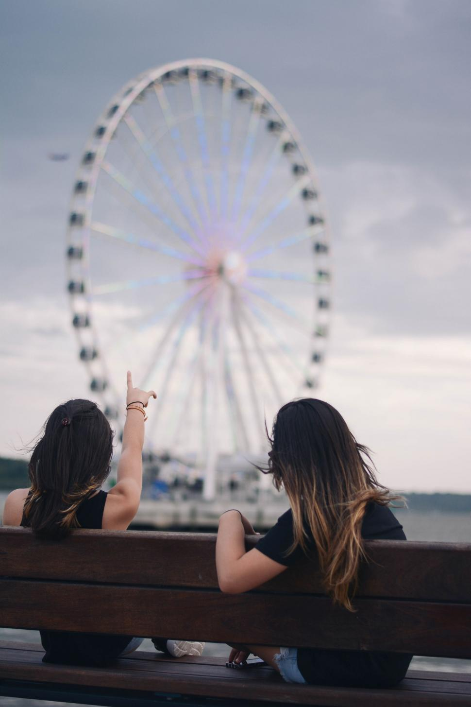 Download Free Stock Photo of Women Looking at Ferris Wheel