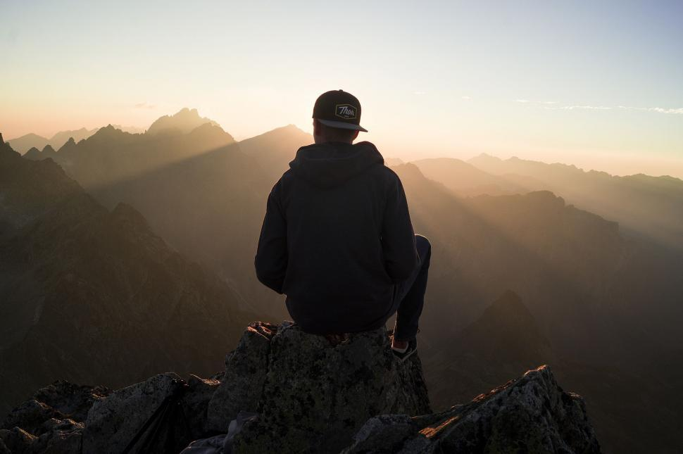 Download Free Stock Photo of Alone Man on Mountain