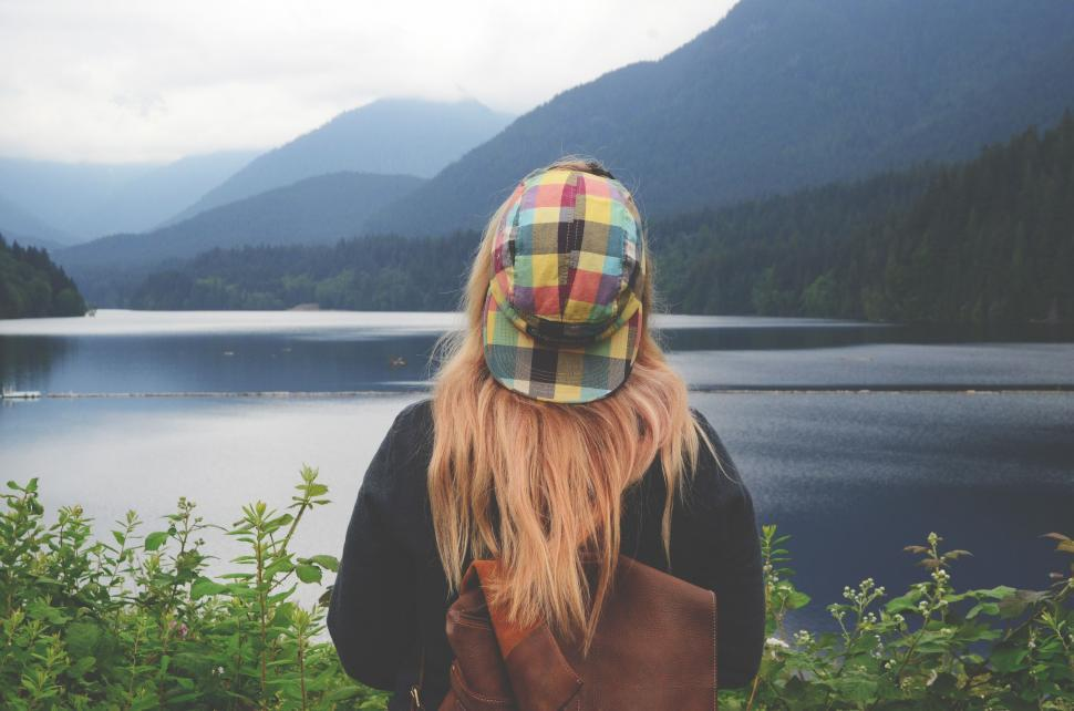 Download Free Stock Photo of Back Side View of Blonde Woman in Cap