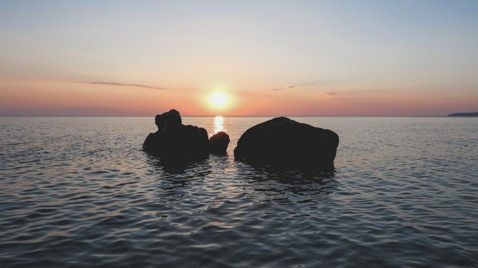 Download Free Stock HD Photo of Rock in Ocean  Online