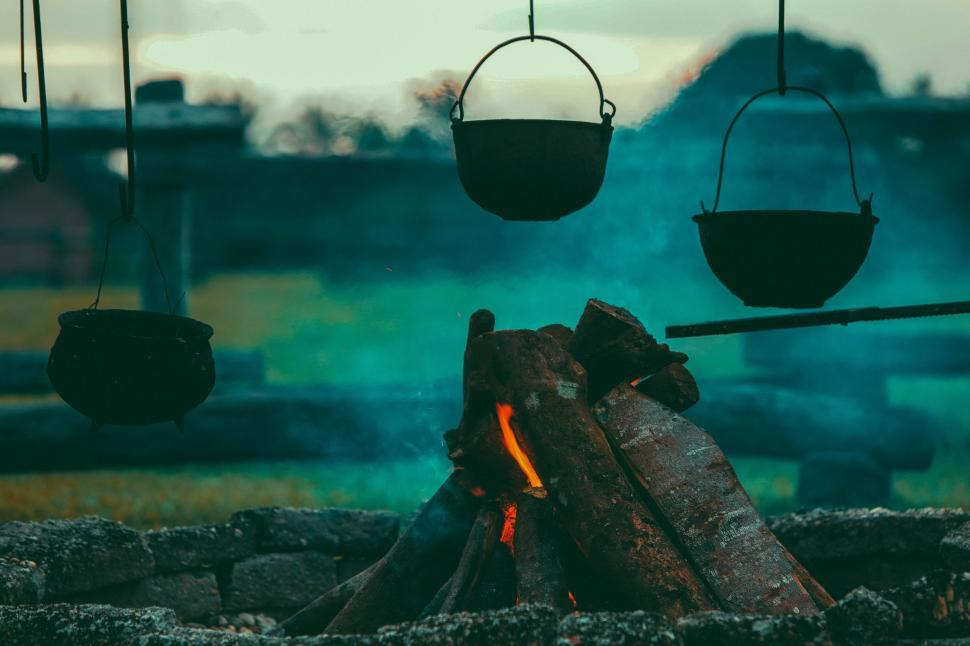 Download Free Stock Photo of Cooking pots on wood fire