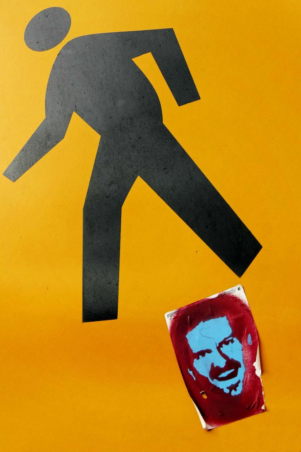Download Free Stock Photo of Pedestrian crossing with sticker
