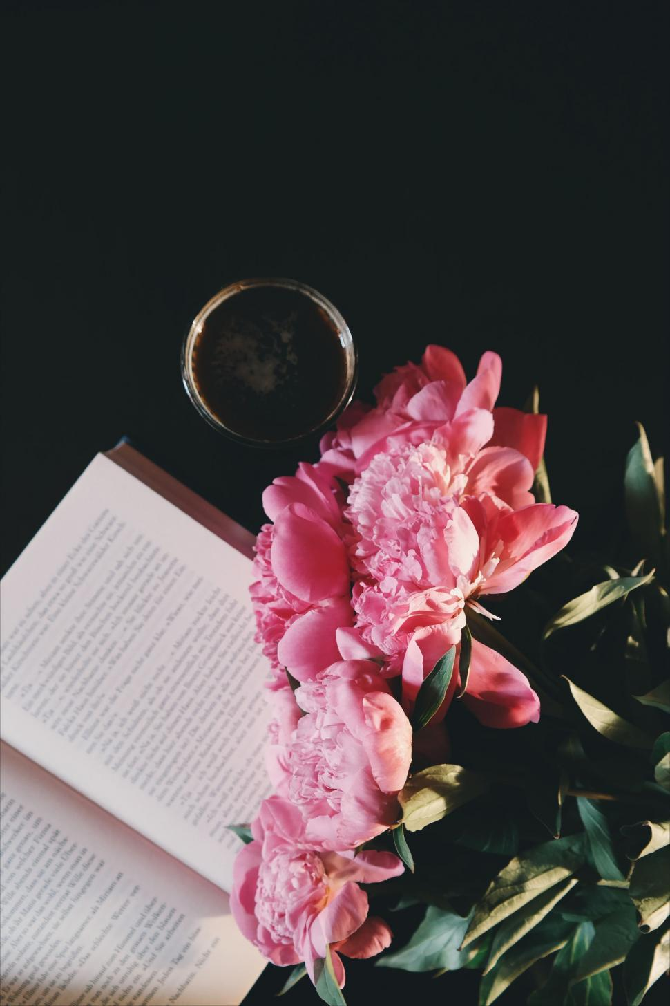 Download Free Stock HD Photo of Book and Flowers With Black Coffee  Online