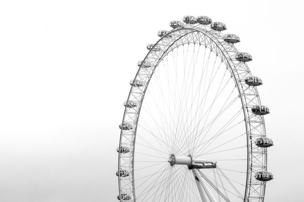 Download Free Stock Photo of Ferris wheel and white sky