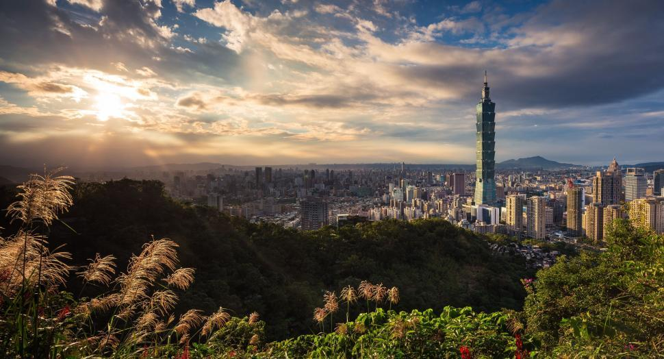 Download Free Stock Photo of Taipei 101 with sunset sky