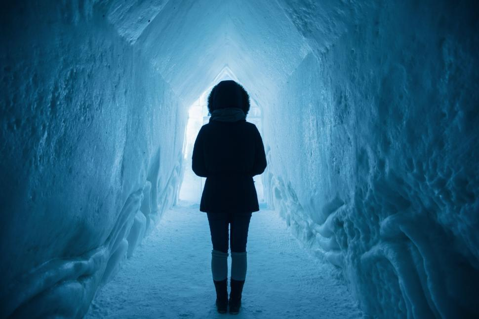 Download Free Stock HD Photo of Woman in Ice Cave  Online