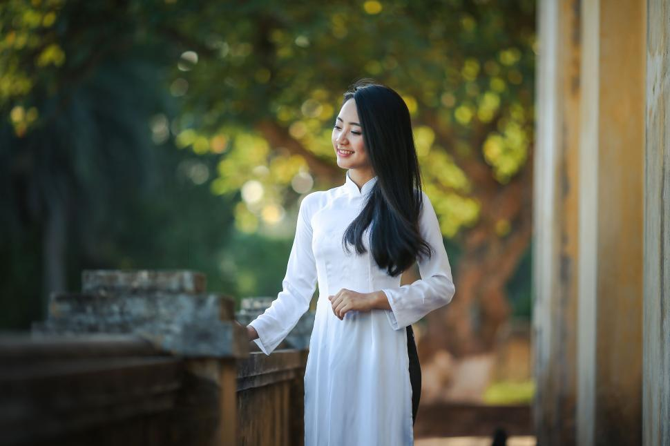 Download Free Stock Photo of Asian Woman with long black hair