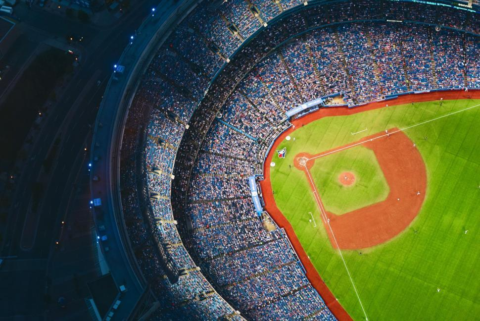 Download Free Stock Photo of Baseball Stadium With Crowd From Sky