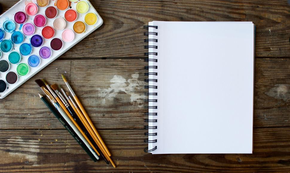 Download Free Stock Photo of Drawing notebook and colors