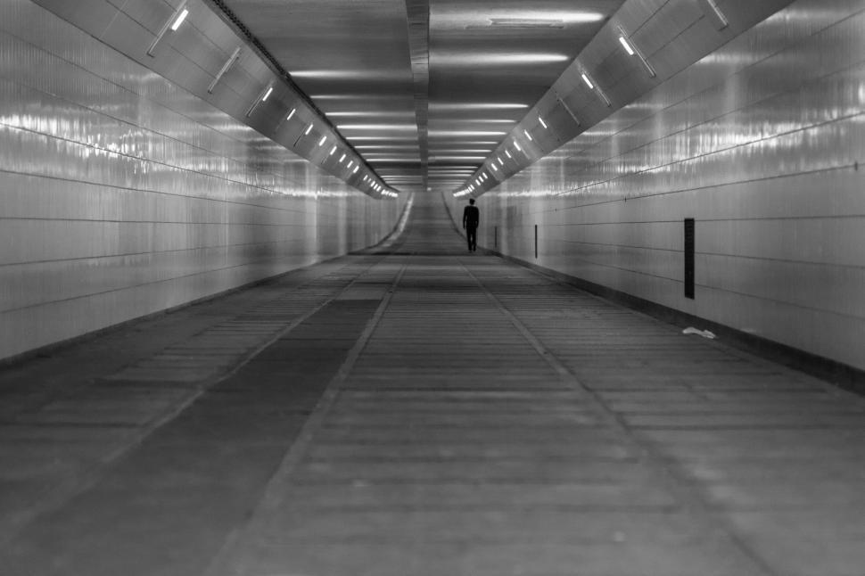 Download Free Stock Photo of Underground Subway Tunnel