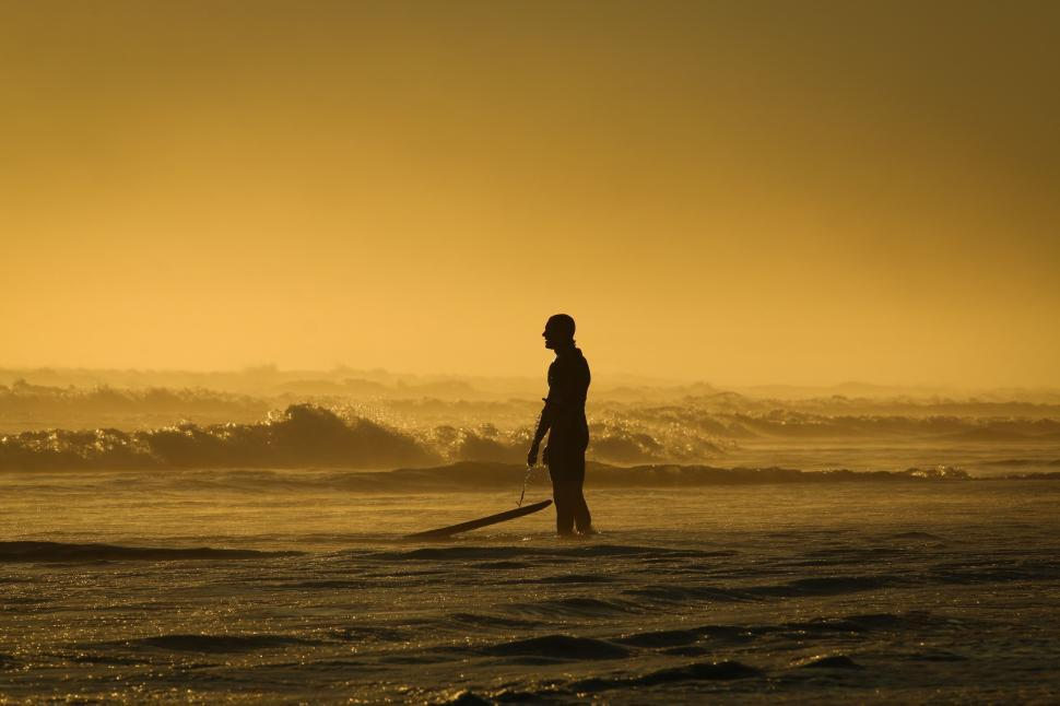 Download Free Stock Photo of Silhouette of surfer