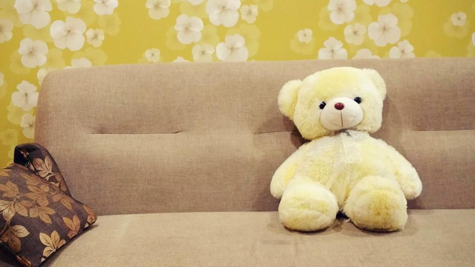 Download Free Stock Photo of Yellow Teddy Bear