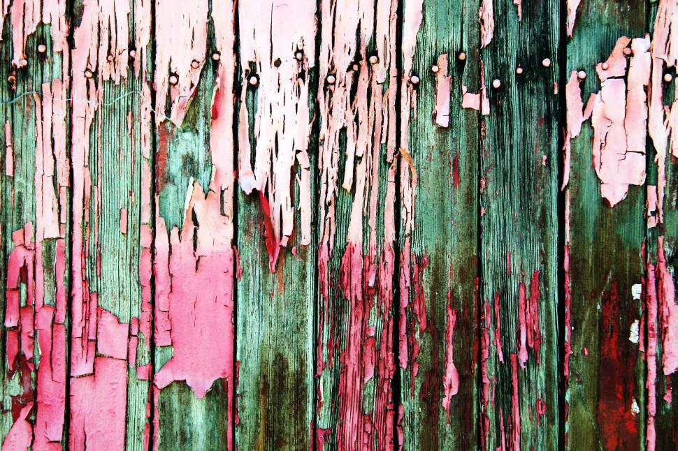 Download Free Stock Photo of Pink and green peeling paint
