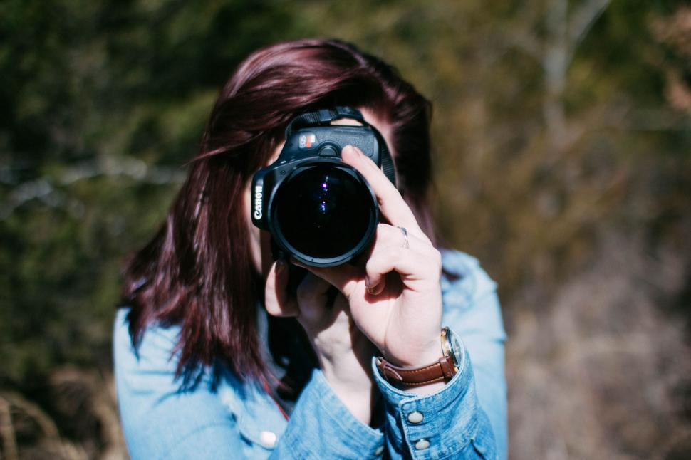 Download Free Stock Photo of Red Hair Woman with Camera