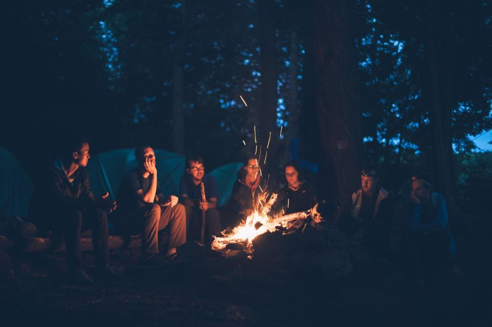 Download Free Stock Photo of People and bonfire