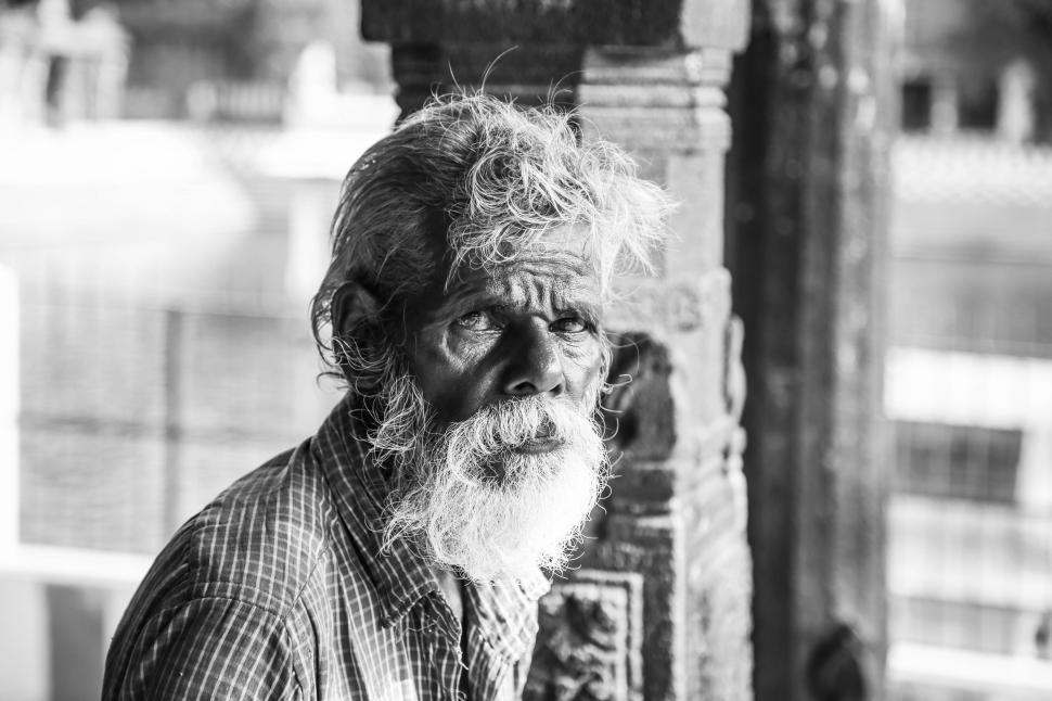Download Free Stock Photo of Old Man with long beard - Monochrome