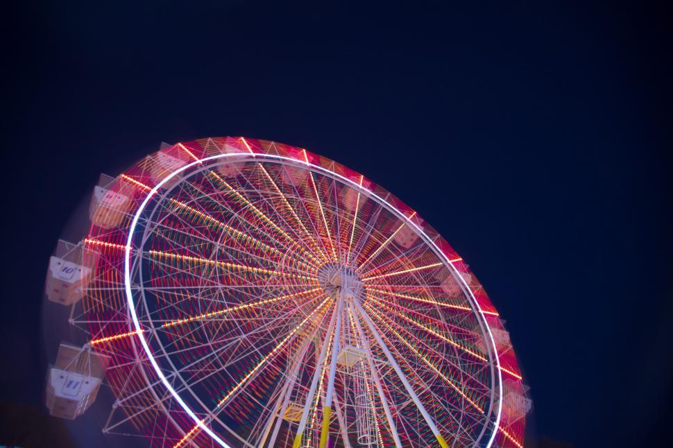 Download Free Stock Photo of Colorful Ferris wheel with black sky