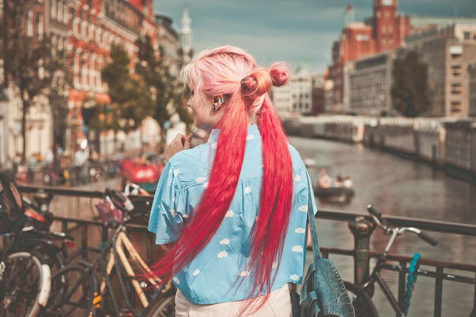 Download Free Stock Photo of Backside view of red hair woman
