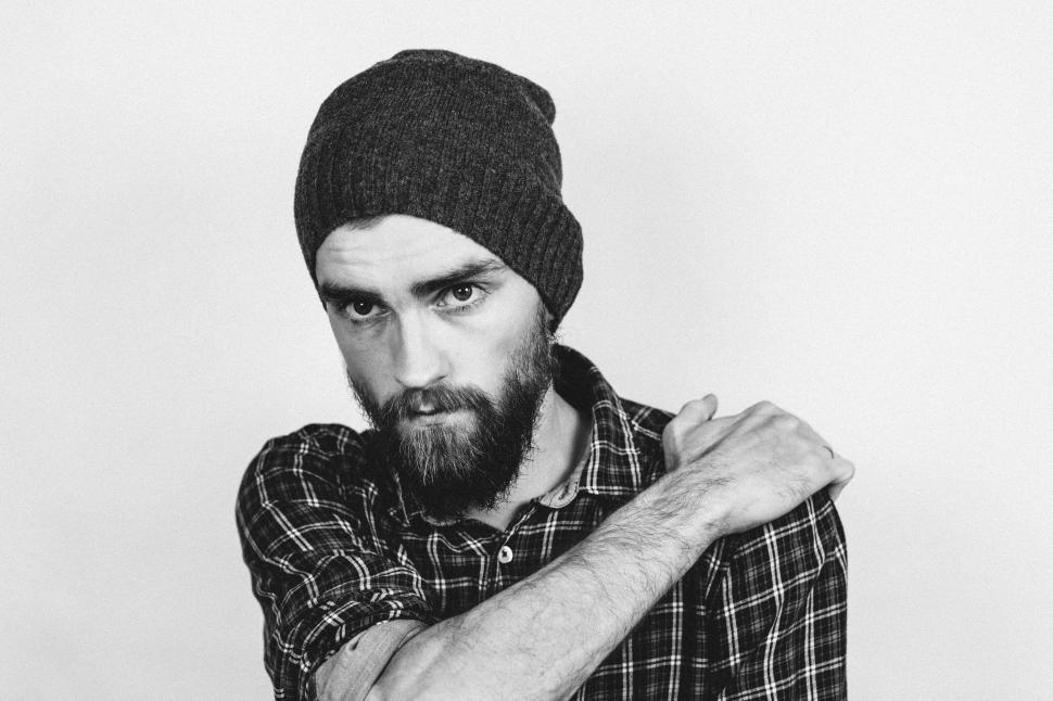 Download Free Stock Photo of Bearded Man in Beanie Cap
