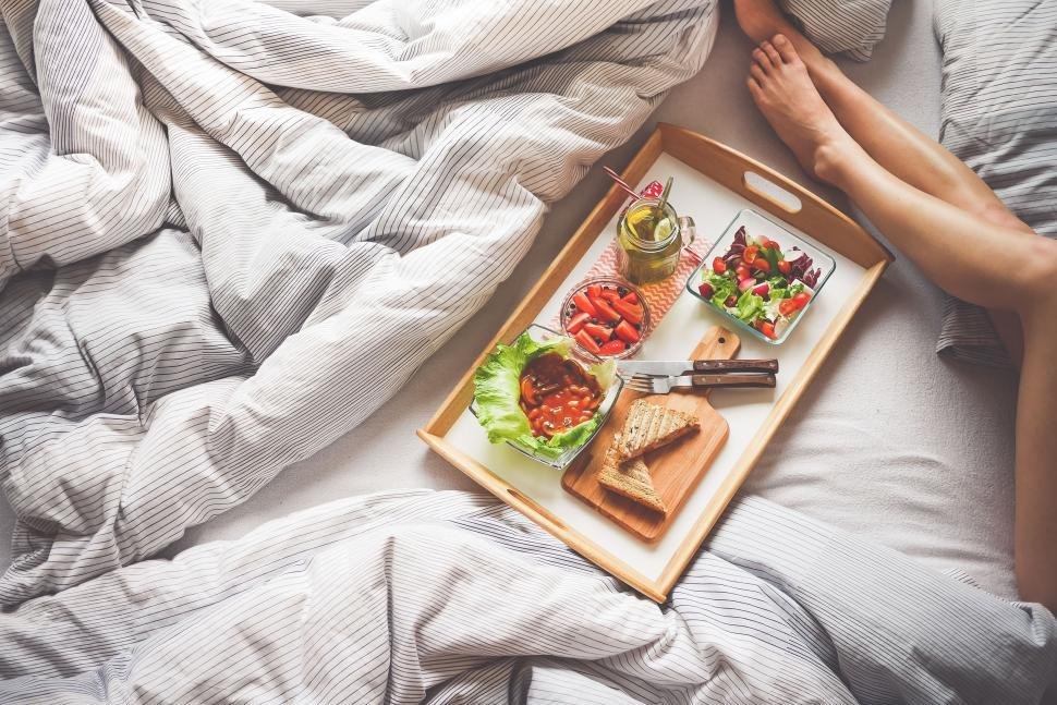 Download Free Stock Photo of Breakfast on bed with woman