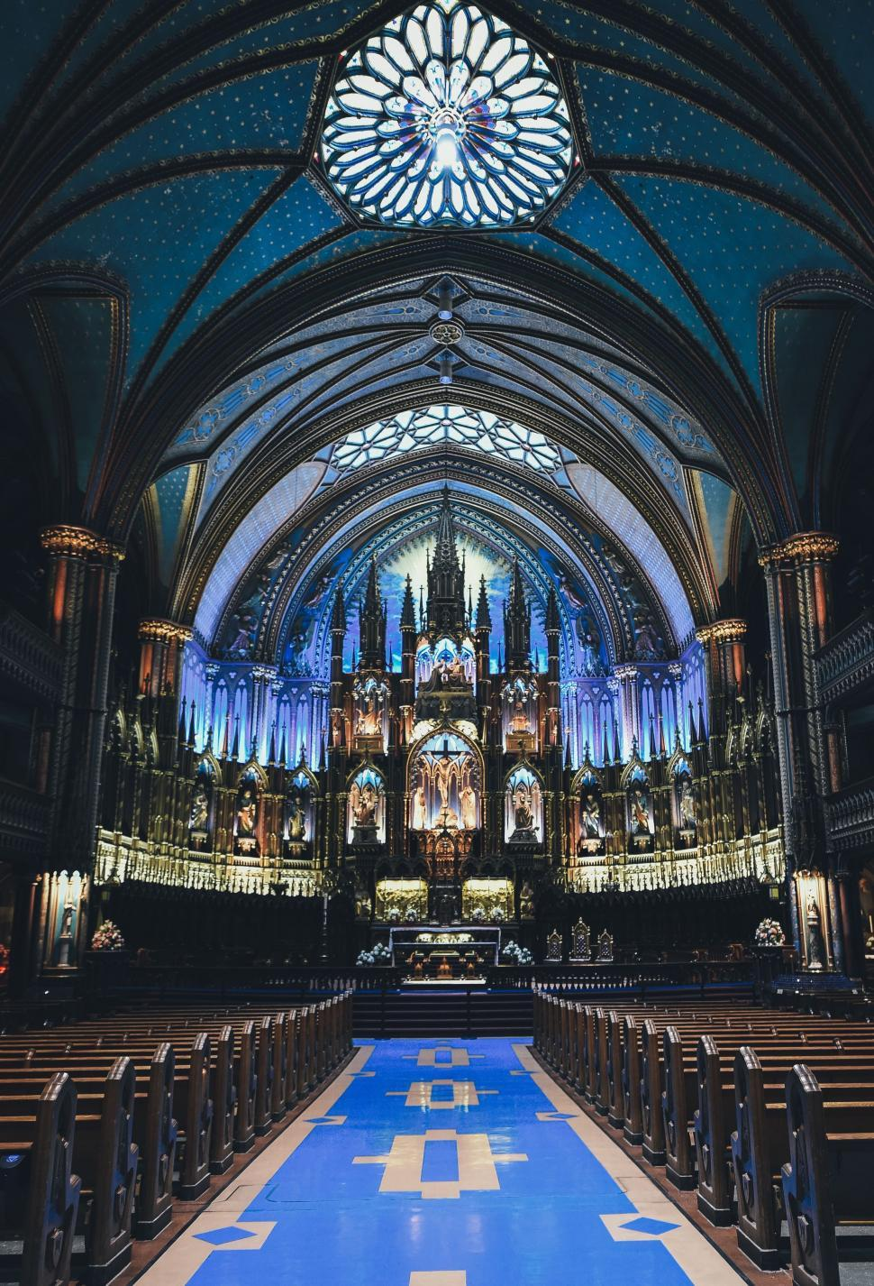 Download Free Stock Photo of Inside View of Church with aisle