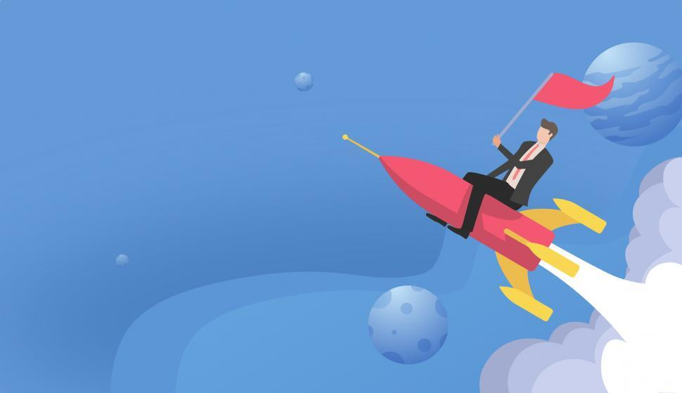 Download Free Stock Photo of Start-Up Concept with Businessman Riding Rocket Ship - With Copy