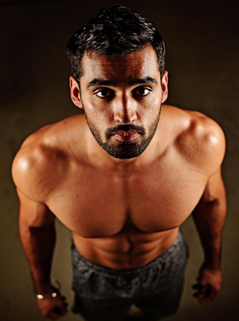 Download Free Stock Photo of Shirtless Indian Man in Gym - Eye Contact