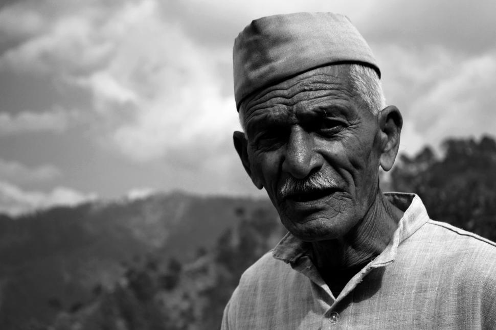Download Free Stock Photo of Old Indian Man with Traditonal Cap
