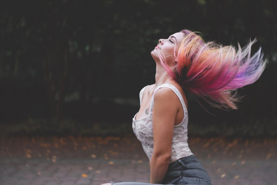 Download Free Stock Photo of Woman with colorful hair