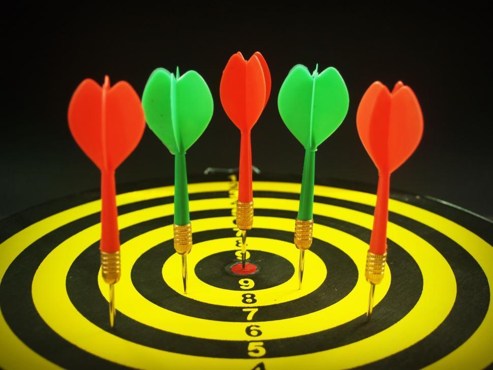 Download Free Stock Photo of Darts on Dartboard