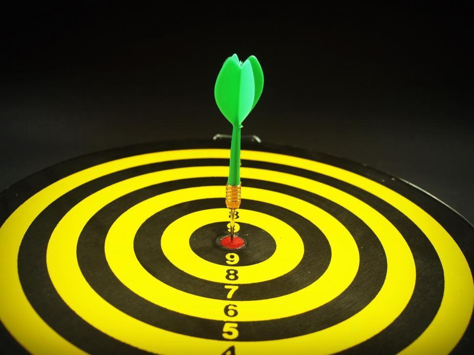 Download Free Stock Photo of Dart on bullseye