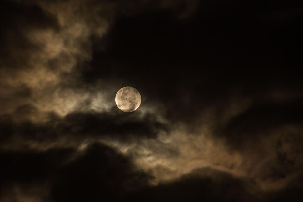 Download Free Stock Photo of Full Moon and Cloudy Sky