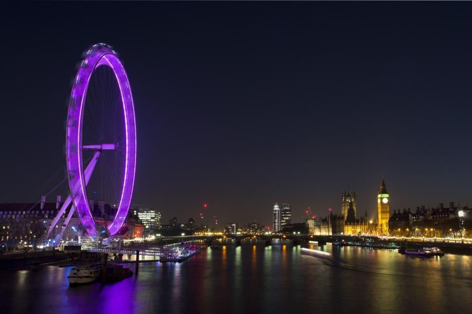 Download Free Stock Photo of Night View of London Eye