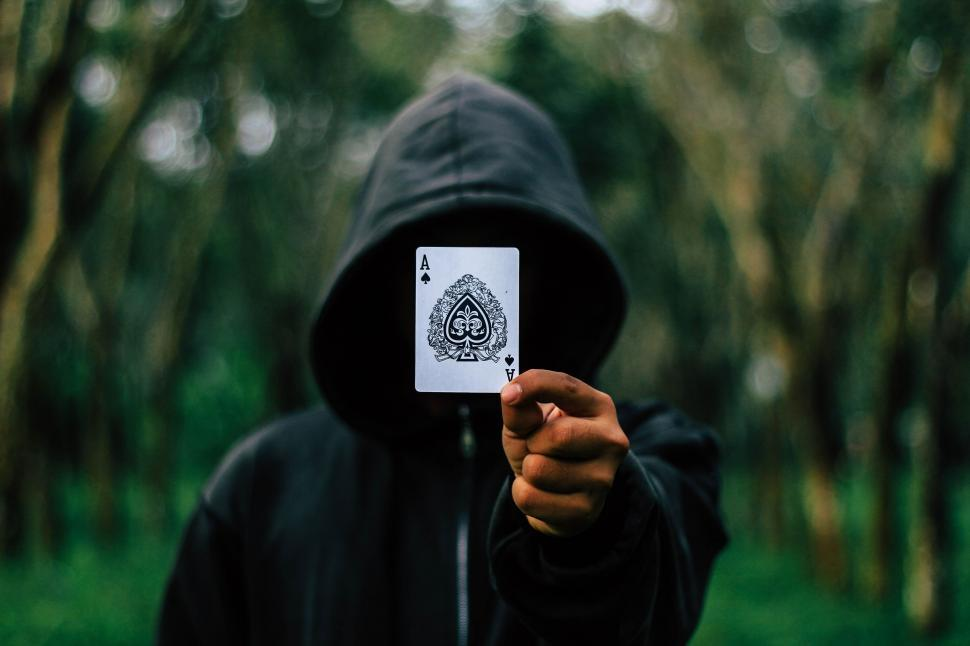 Download Free Stock HD Photo of Hoodie Man with Ace Card Online