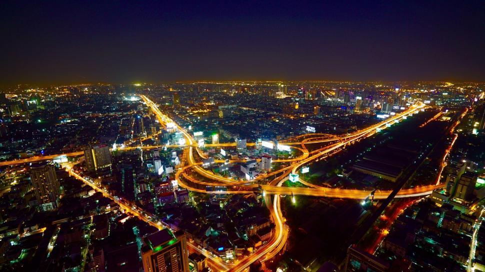 Download Free Stock Photo of Top View of Bangkok City at night