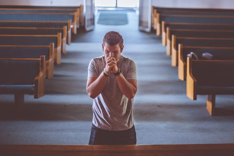 Download Free Stock Photo of Man Praying in Church