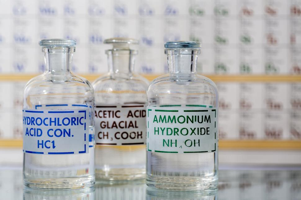 Download Free Stock HD Photo of Acid and base reagent bottles Online