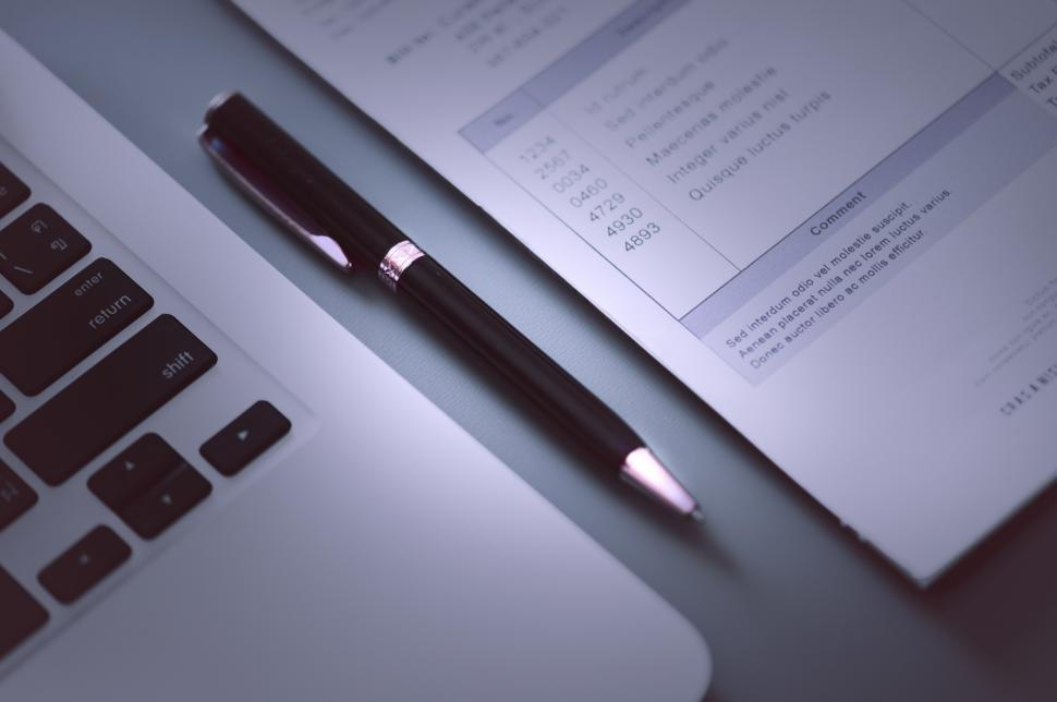 Download Free Stock Photo of Close up of a pen on the table with documents