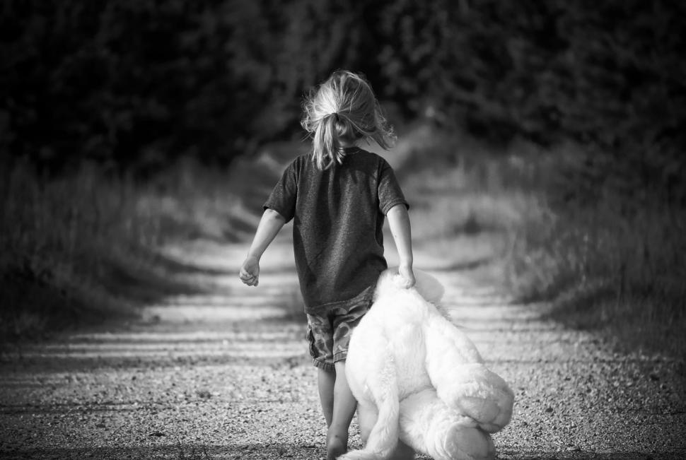 Download Free Stock Photo of Back View of Little Girl With Teddy Bear
