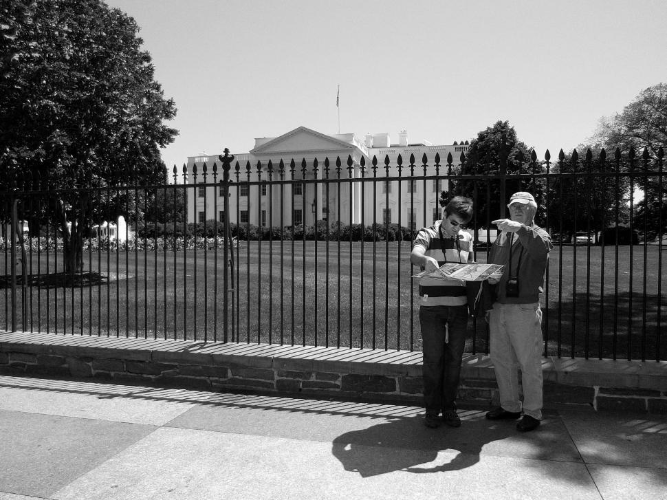 Download Free Stock Photo of Tourists With Map Outside White House