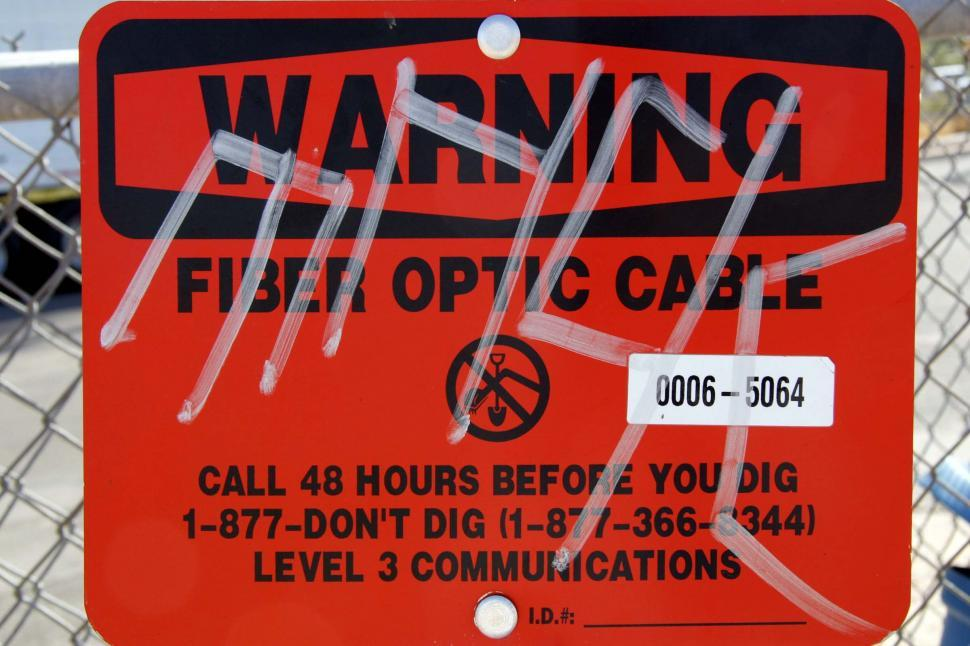 Download Free Stock HD Photo of Warning sign - Fiber Optic Cables Online