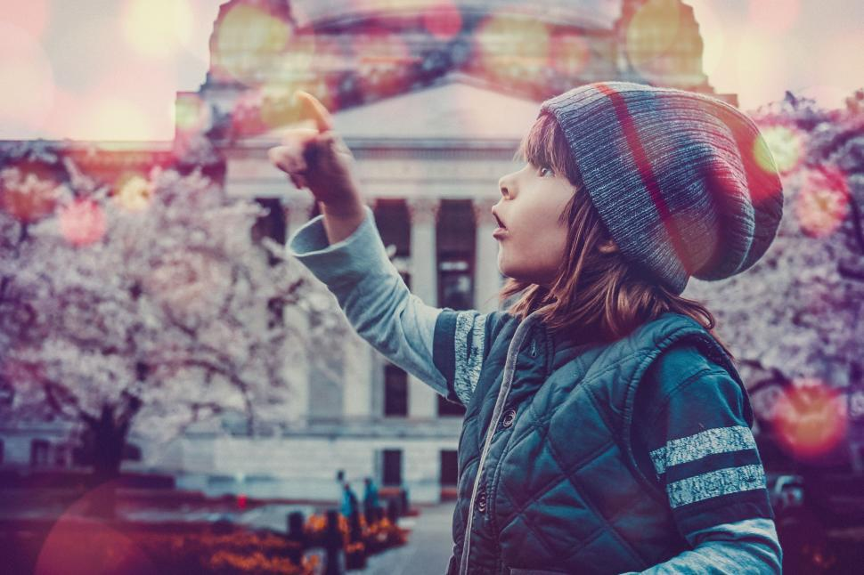 Download Free Stock Photo of Little Boy With Cherry Blossom Trees - pointing with finger and looking up