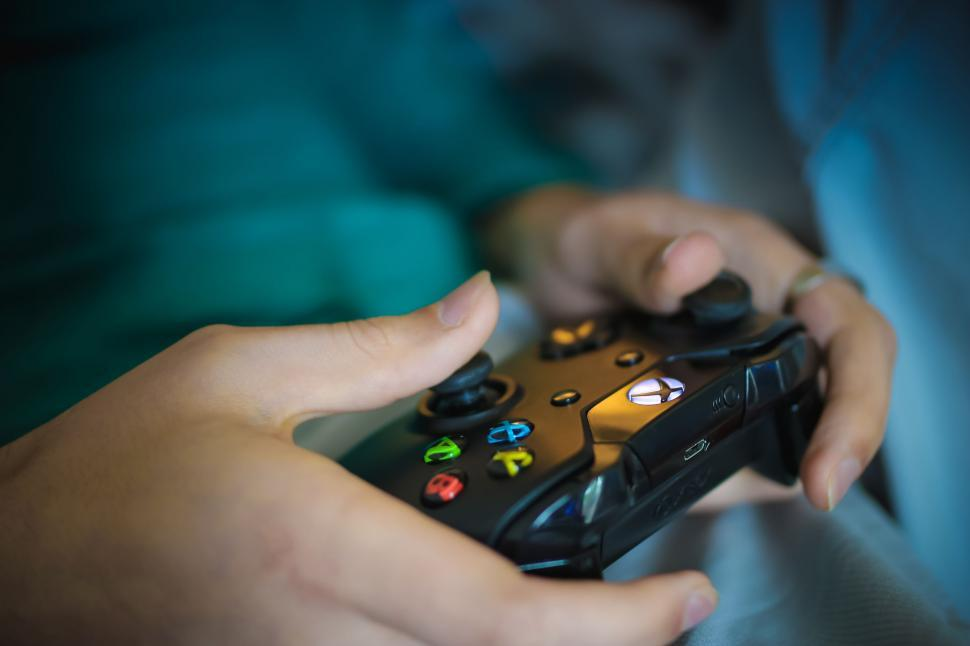 Download Free Stock Photo of Hands and video game controller